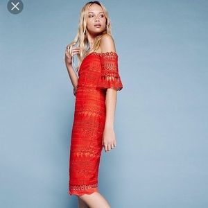 Free People Over the Shoulder Red Dress NEW